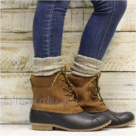 ESSENTIALS boot slouch socks - oatmeal - Catherine Cole Studio