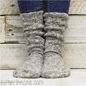 Womens cute fall tweed  boot slouch socks - salt n pepper  usa