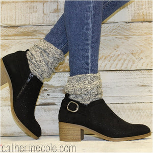 ESSENTIALS boot slouch socks - salt n pepper - cute socks booties womens