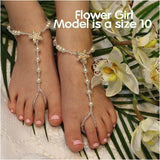 flower girl barefoot sandals - girls barefoot sandals - toddlers barefoot sandals
