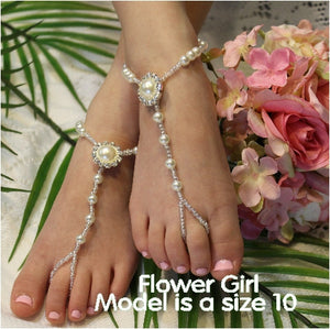PEARL wedding barefoot sandals - bridal girls foot jewlery