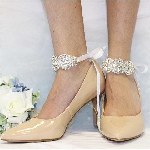 FOREVER  rhinestone  wedding ankle bracelet - silver - wedding bridal shoe jewelry etsy custom