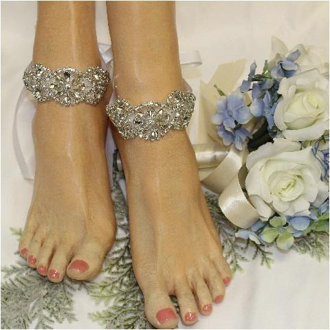 FOREVER  rhinestone  wedding ankle bracelet - silver - beach wedding crystals custom handmade women etsy