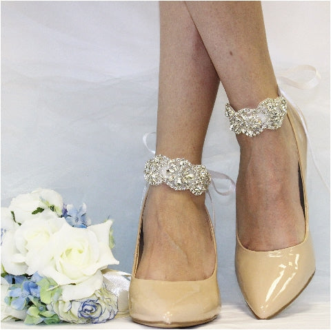 FOREVER  rhinestone  wedding ankle bracelet - silver  crystal barefoot sandals angel etsy