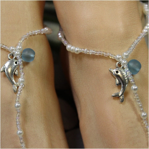DOLPHIN  beaded barefoot sandals - beach wedding jewelry etsy