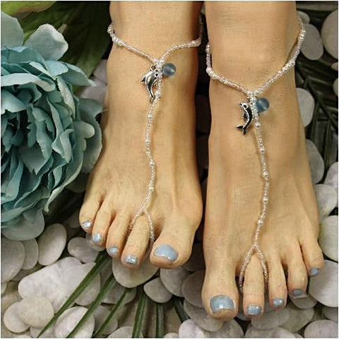 DOLPHIN  beaded barefoot sandals