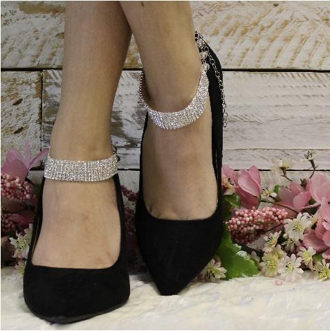 MODERN  wedding ankle bracelet - silver rhinestone - best quality wedding foot jewelry