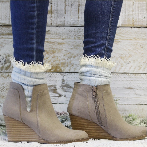 ORGANIC  lace boot socks - Carolina blue - eco socks women sustainable etsy usa