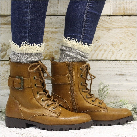 ORGANIC  lace boot socks  women boot socks eco USA cotton