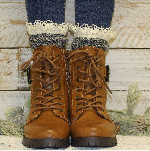 eco boot socks lace cotton women  - 100% organic made usa women's cotton socks