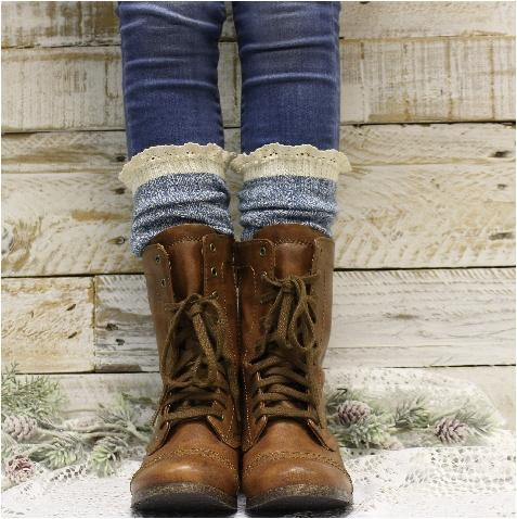 ORGANIC tall lace boot socks - denim blue - Catherine Cole Studio