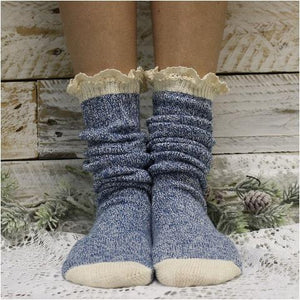ORGANIC tall lace boot socks - denim blue - 100% organic pact cotton socks sustainable made usa