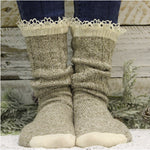 ORGANIC  lace boot socks - taupe - Catherine Cole Studio