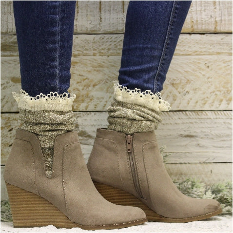 ORGANIC  lace boot socks - taupe - best Eco socks women's USA cotton