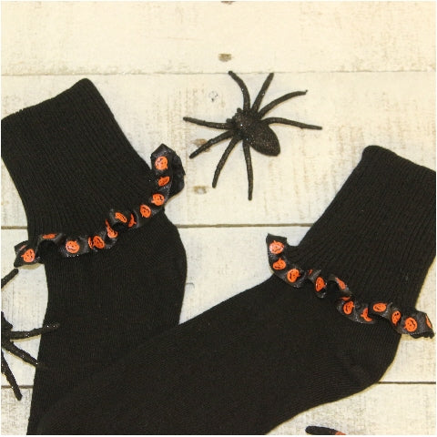 Halloween novelty pumpkin socks Holiday women's etsy handmade fun best