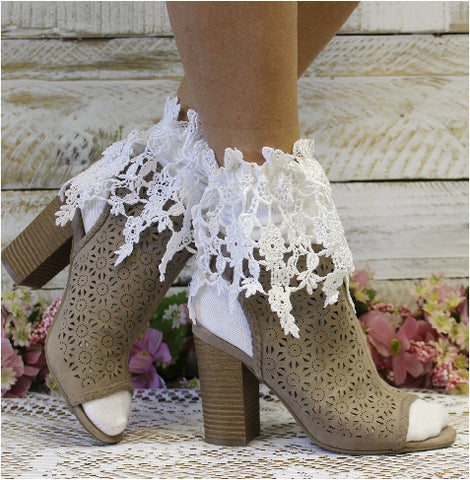 white lace socks for boots