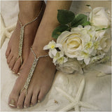 gold barefoot sandals - gold - foot jewelry - diamond - crystal - wedding -lace