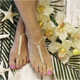 gold barefoot sandals -gold foot jewelry - gold footless sandals