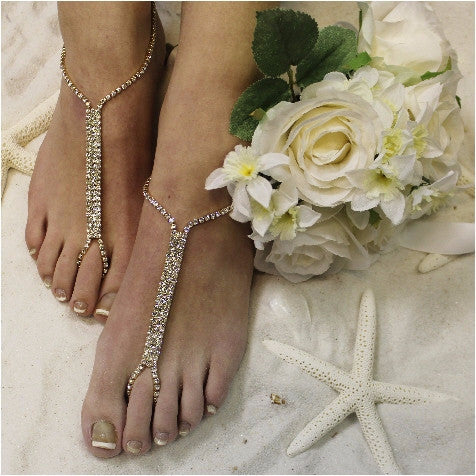 GLAMOROUS barefoot sandals  gold - gold barefoot sandals - crystal - wedding - rhinestones