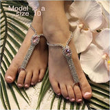 pink rhinestone girls barefoot sandals