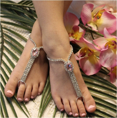 pink crystal flower girl barefoot sandals - foot jewelry