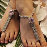pink flower girl footless sandals beach