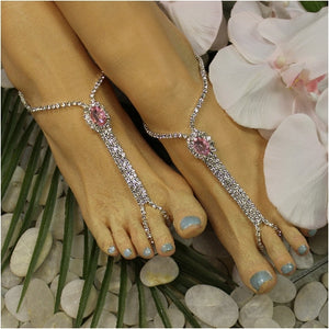 BRIDESMAID  rhinestone barefoot sandals - pink - best beach wedding jewelry women etsy