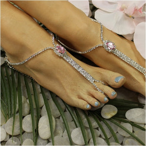 BRIDESMAID  rhinestone barefoot sandals - pink  best footless sandals  wedding