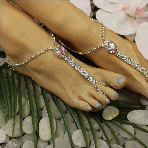 pink crystal barefoot sandals - pink feet jewelry rhinestones