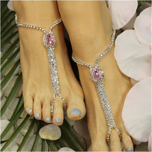 BRIDESMAID  rhinestone barefoot sandals - pink - Best angel etsy feet jewelry wedding