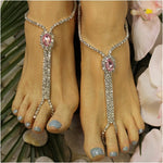 BRIDESMAID  rhinestone barefoot sandals - pink - best beach wedding fashion etsy custom rhinestones