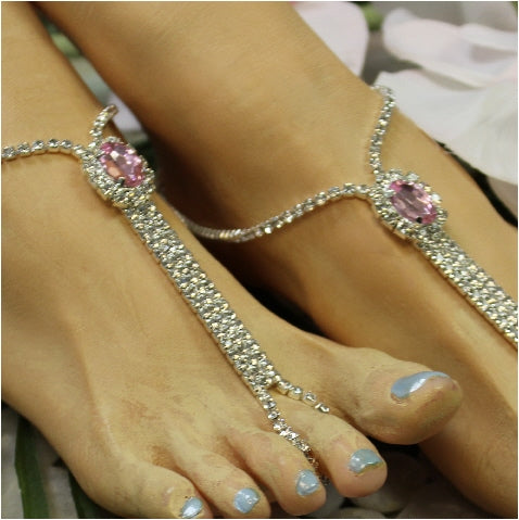 pink barefoot sandals crystals