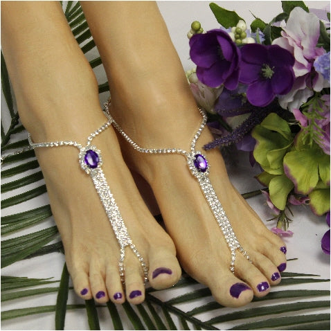 BRIDESMAID  barefoot sandals - purple - Catherine Cole Studio