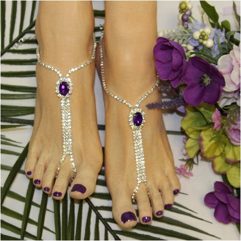 BRIDESMAID  barefoot sandals - purple