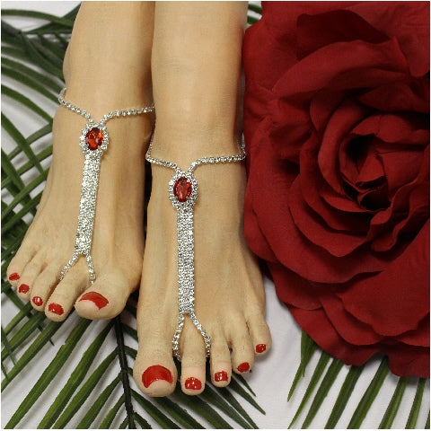 BRIDESMAID  barefoot sandals - red
