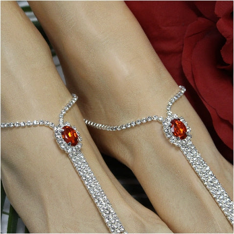 red jewel crystal barefoot sandals