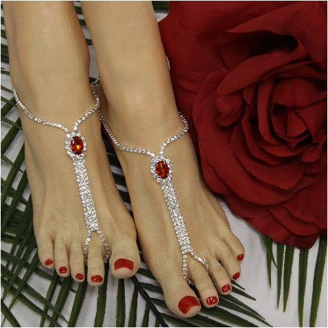 red bridesmaid rhinestone sandals