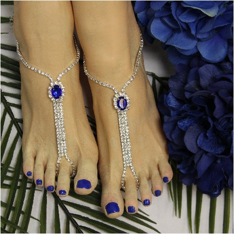 sapphire feet jewelry - royal blue footless sandals