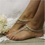 silver  Barefoot sandals - rhinestone barefoot sandals , silver - wedding, foot jewelry, silver