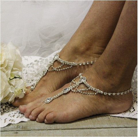 Something Silver Barefoot Sandals Silver Wedding Foot