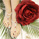 RED  barefoot sandals -  red wedding foot jewelry - red crystals - diamante