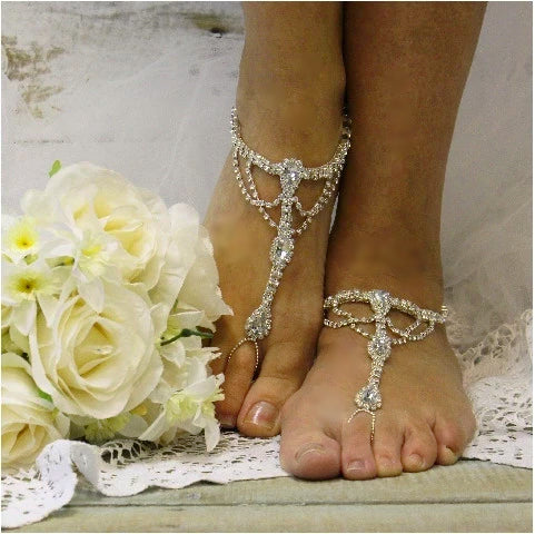 SILVER barefoot sandals - silver  foot jewelry - silver wedding - beach - pearls - woman