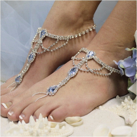 blue  barefoot sandals - wedding - blue -blue foot jewelry
