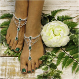 EMERALD  green barefoot sandals - green - green foot jewelry