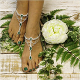 green  barefoot sandals - green - green foot jewelry - green footless sandals