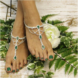 EMERALD  green  barefoot sandals - green foot jewelry - green footless sandals - irish wedding