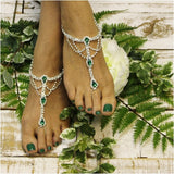 EMERALD  green  barefoot sandals - green - green foot jewelry - green footless sandals