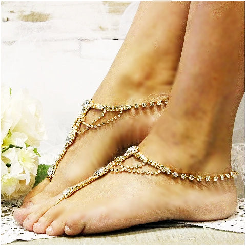 gold barefoot sandals - gold  foot jewelry  - gold footless sandles