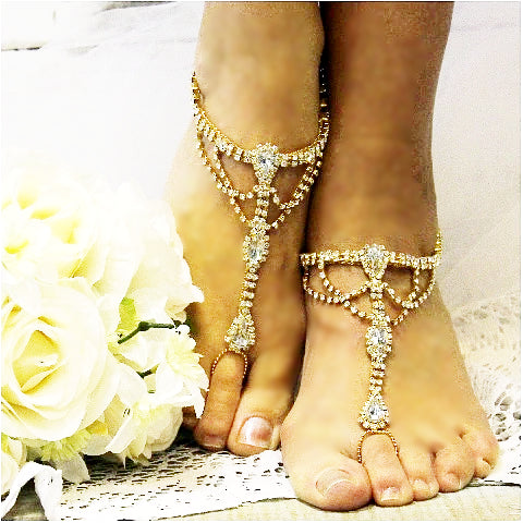 SOMETHING GOLD barefoot sandals gold wedding foot jewelry gold