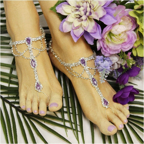 lilac lavender footless bridal sandals